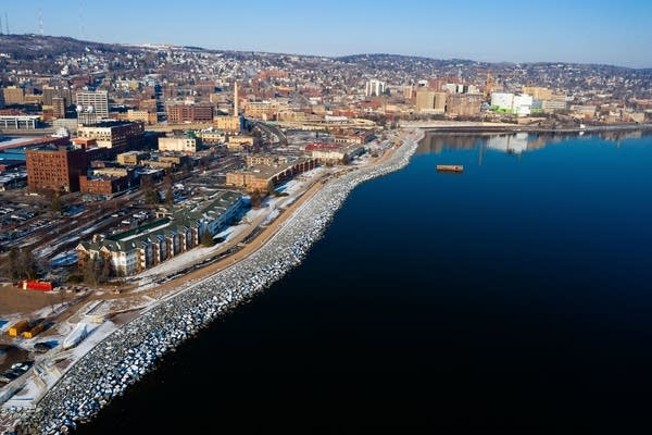 An aerial view of Duluth Lakewalk