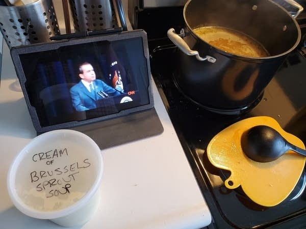 Soup being made by Andrew while watching Tricky Dick