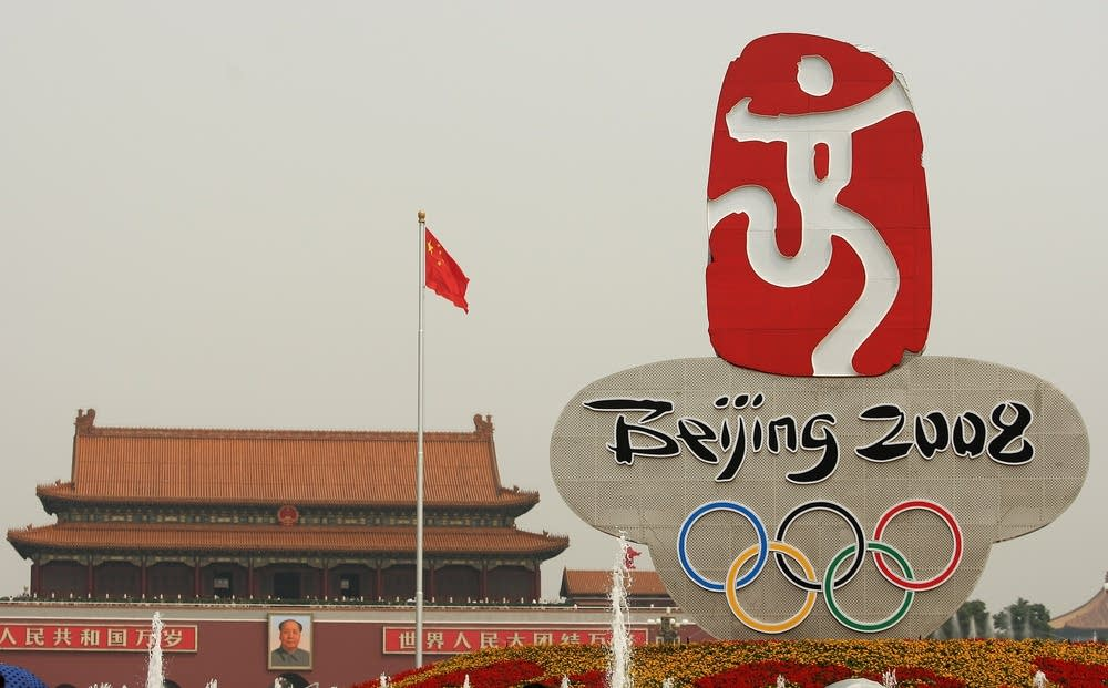 Tiananmen Square Olympics sign