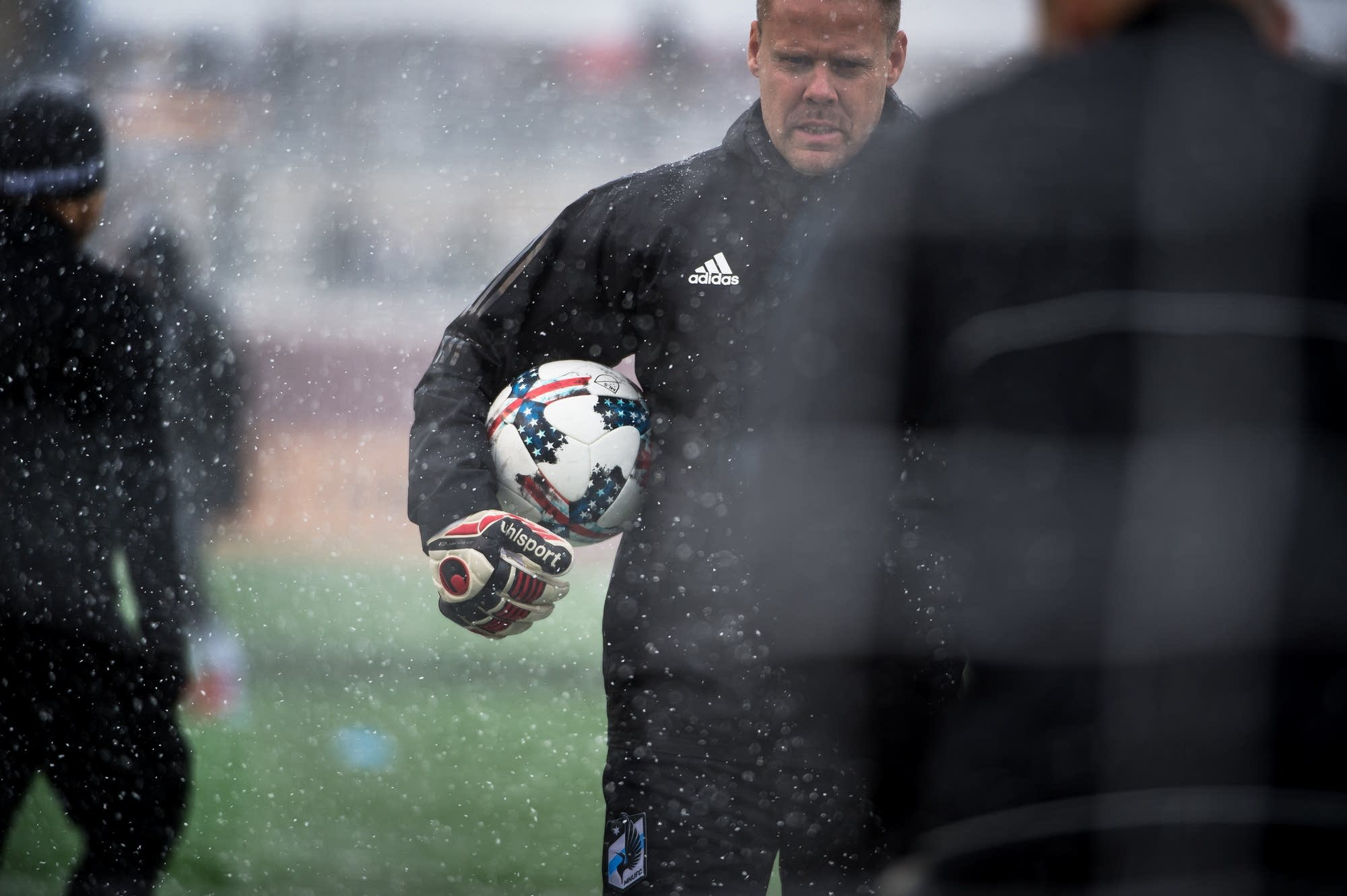 Minnesota United goal keeper Patrick McLain during team warm-ups.