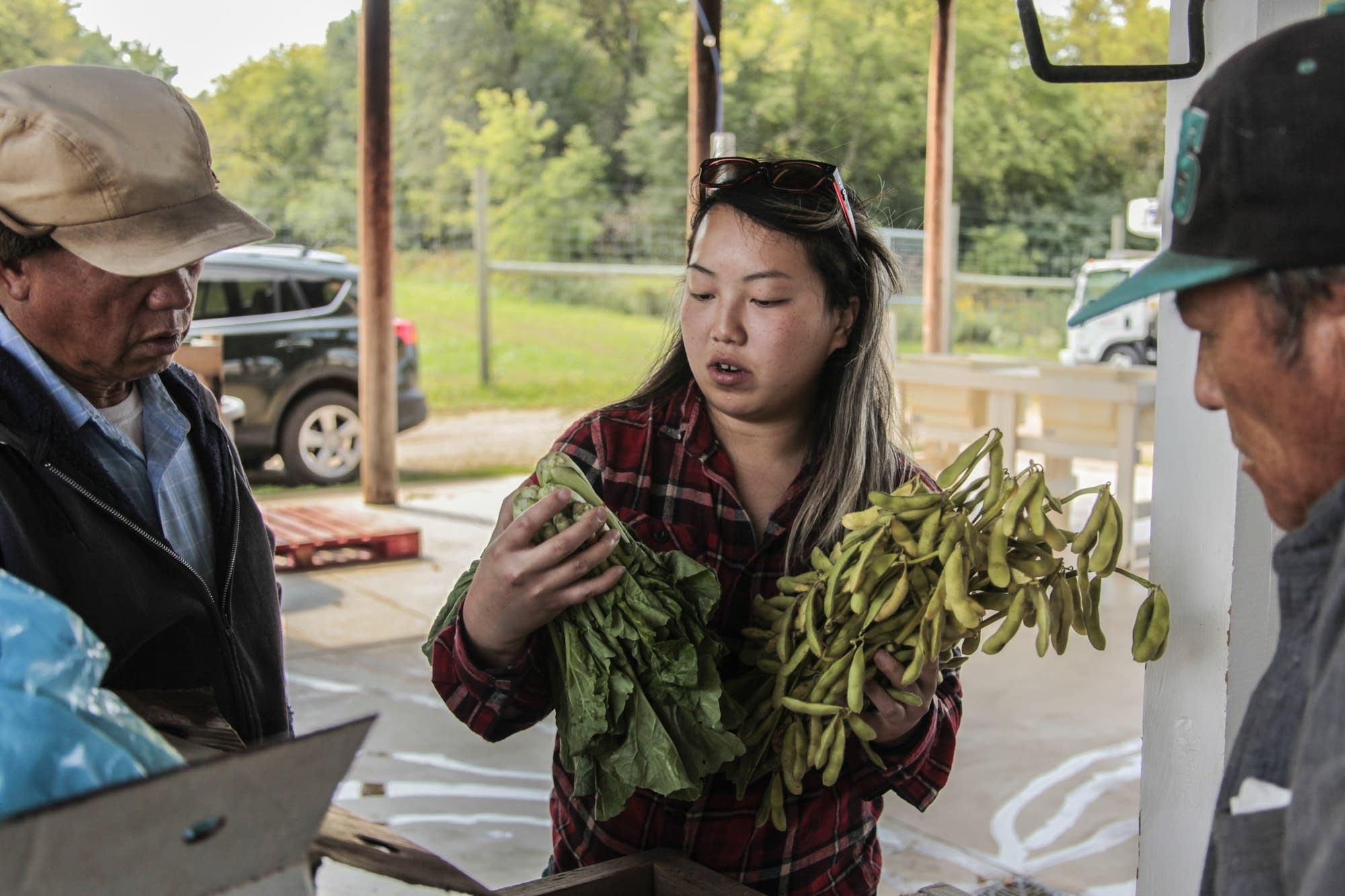 Food hub director speaks to the Hmong farmers at Hafa Farms.