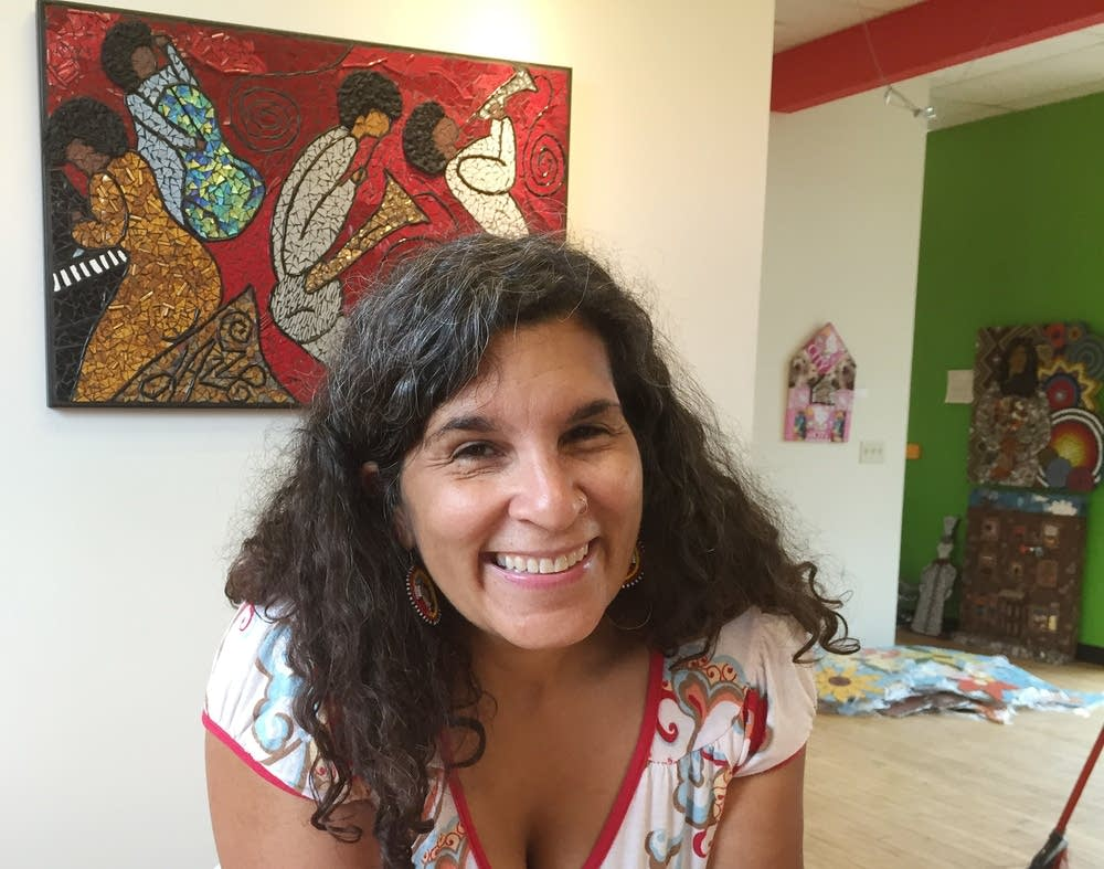 Artist Lori Greene, one of the mural artists