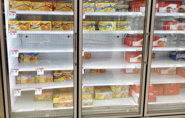 The freezer shelves on August 22.