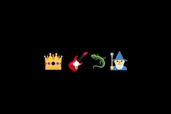 Emoji of a crown, guitar, lizard and wizard