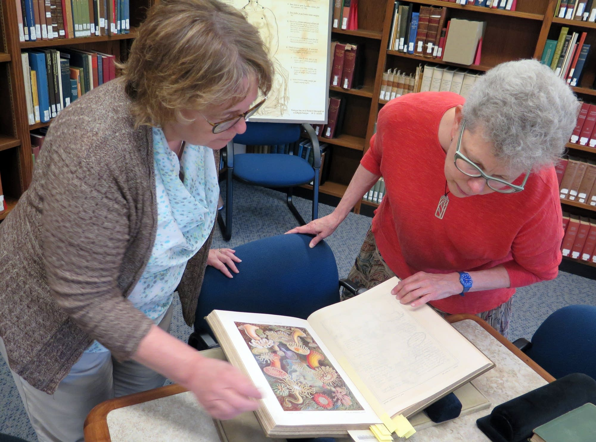 Lois Hendrickson and Jennifer Gunn examine a rare medical text.
