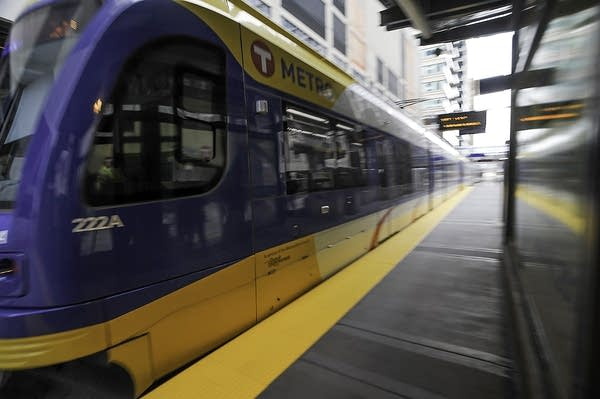 Train arrives in downtown Minneapolis