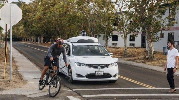 Chrysler minivan being tested at Waymo's facility in Atwater, Calif.