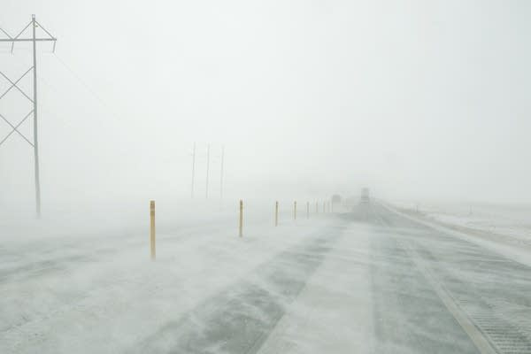 Snow-blown Hwy. 14 near Mankato.
