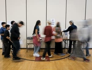 Students at Anwatin Middle School cast their votes