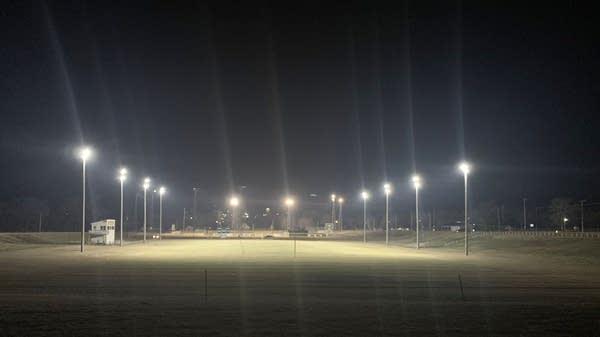 The lights at R.B. Clay Field in Dawson, Minn.