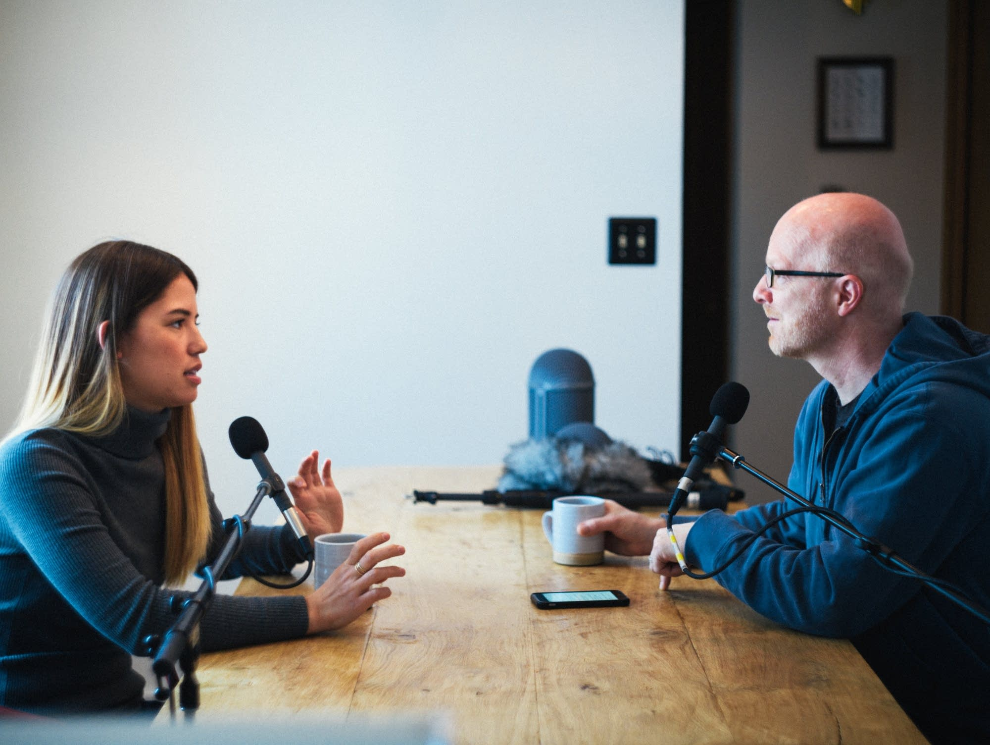 Fred Child interviews Molly Yeh in her dining room