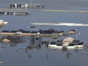 Offutt Air Force Base and the surrounding areas affected by flood waters.