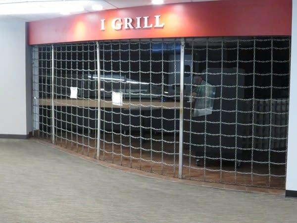 A restaurant in the skyway has its door shut.