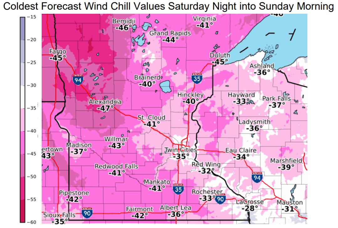 Forecast wind chills