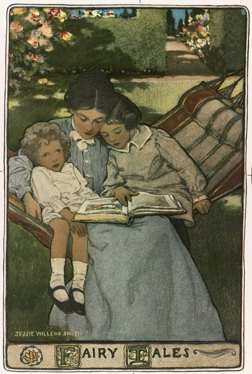 mother and children reading stories
