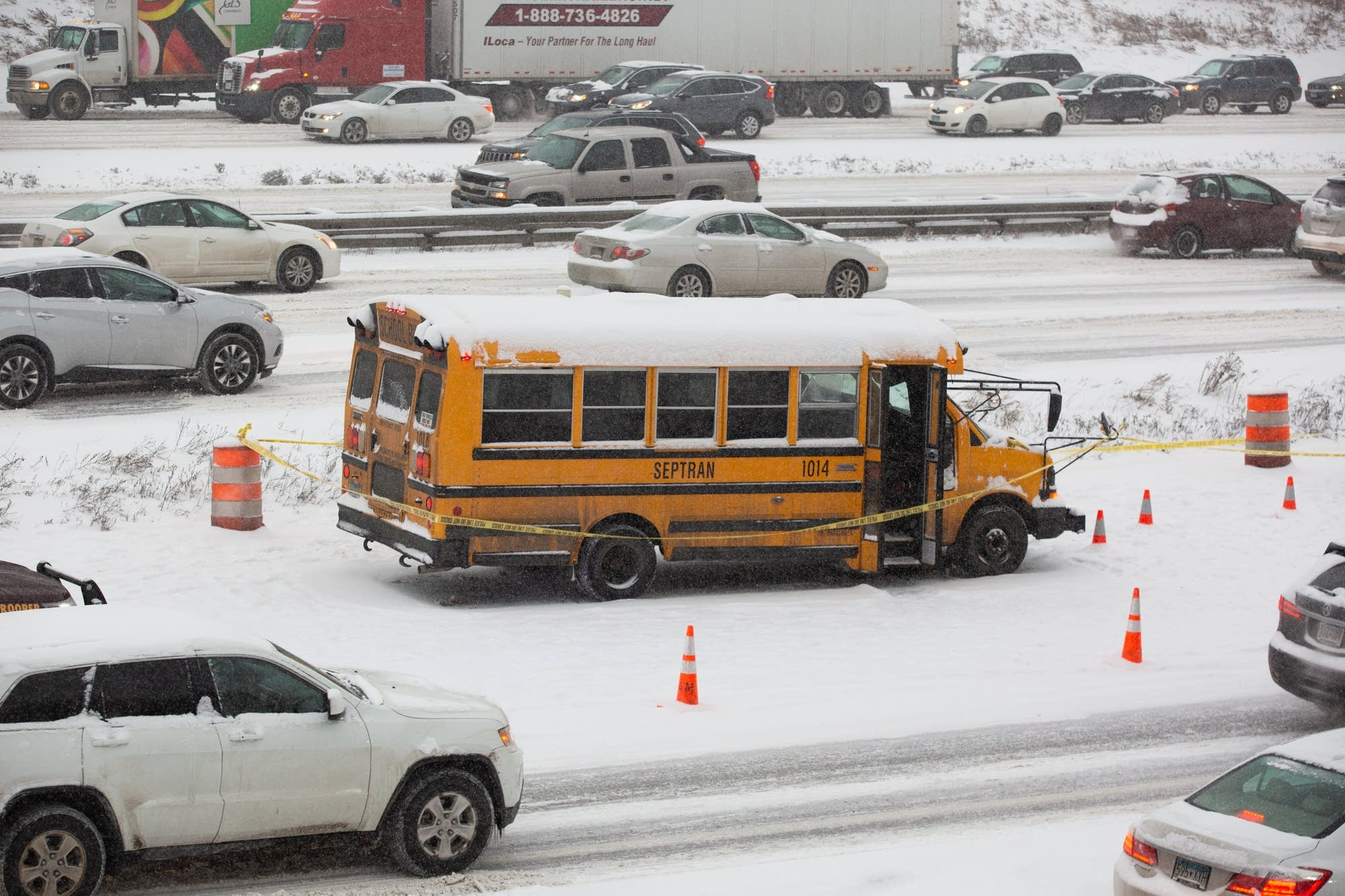 A school bus driver was shot on Interstate 35W in Minneapolis.