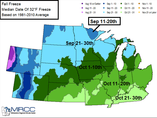 Average first fall freeze dates