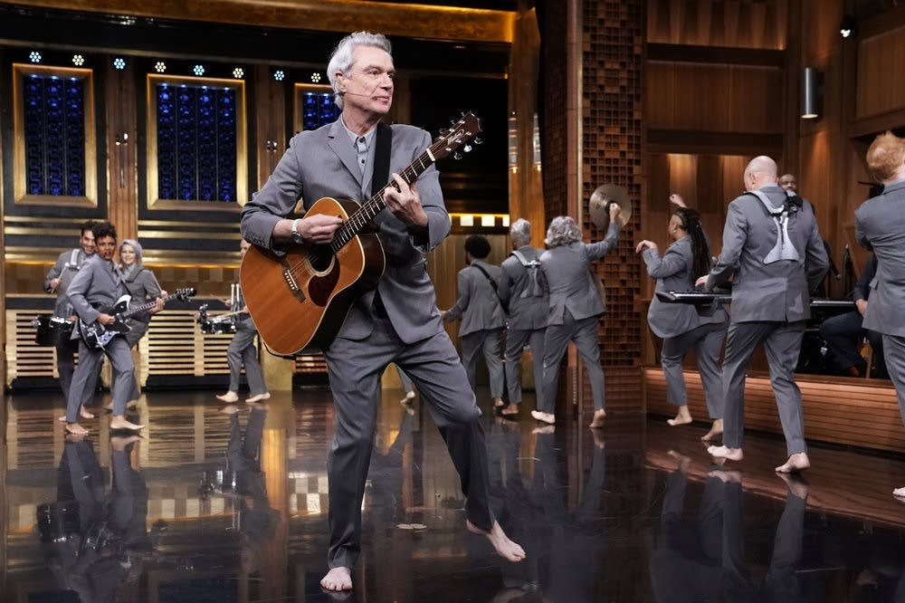 David Byrne performing on 'The Tonight Show Starring Jimmy Fallon'