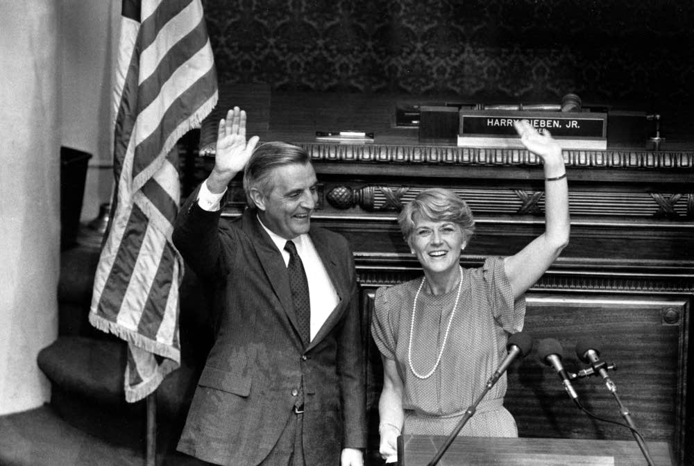 Walter Mondale, left, and Geraldine Ferraro
