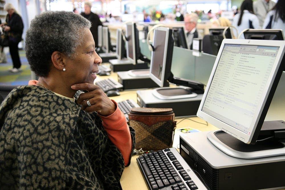 At a computer