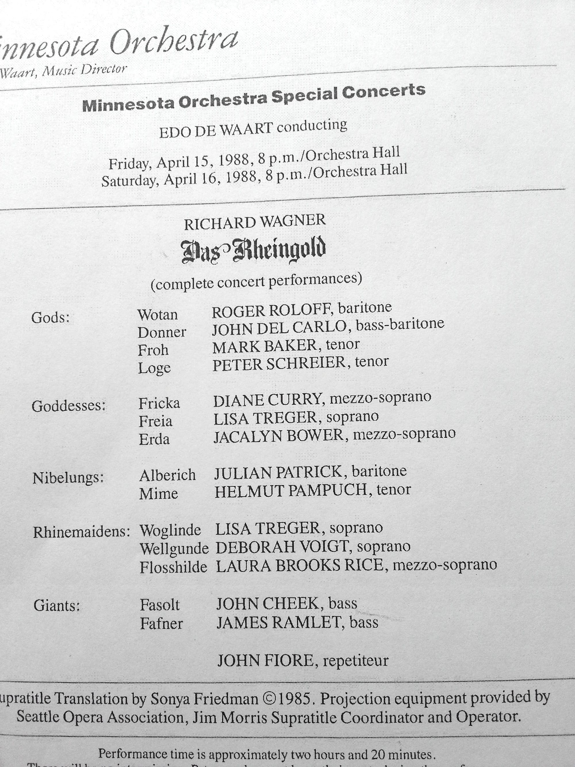Cast page from Minnesota Orchestra program book