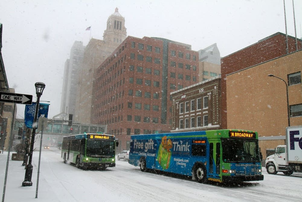 Buses in downtown Rochester