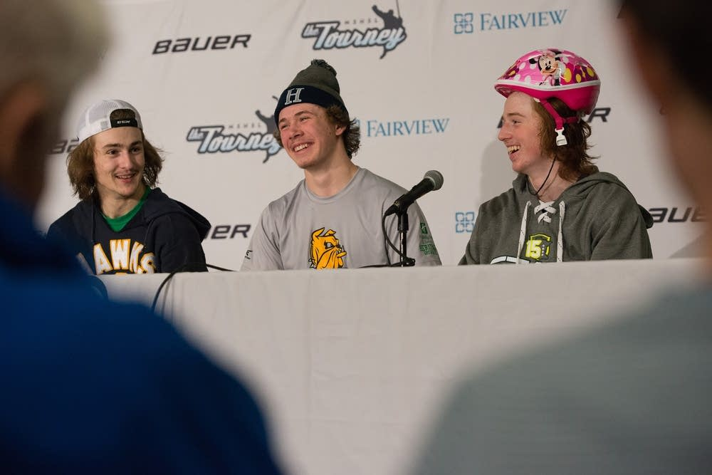 Hermantown players talked with the media.
