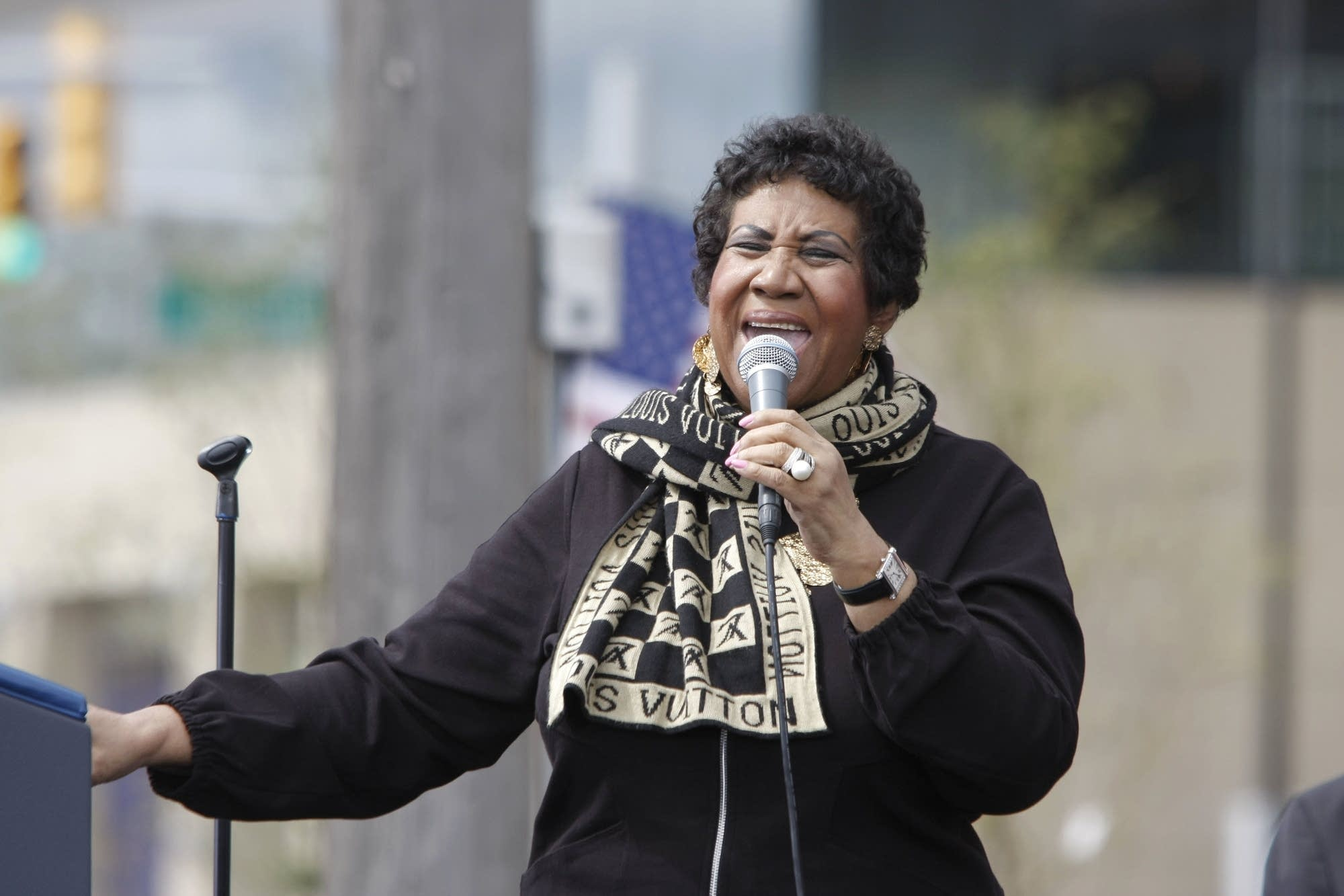 Singer Aretha Franklin performs during a Labor Day event in Detroit.
