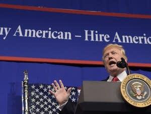 President Donald Trump speaks in Kenosha, Wis.