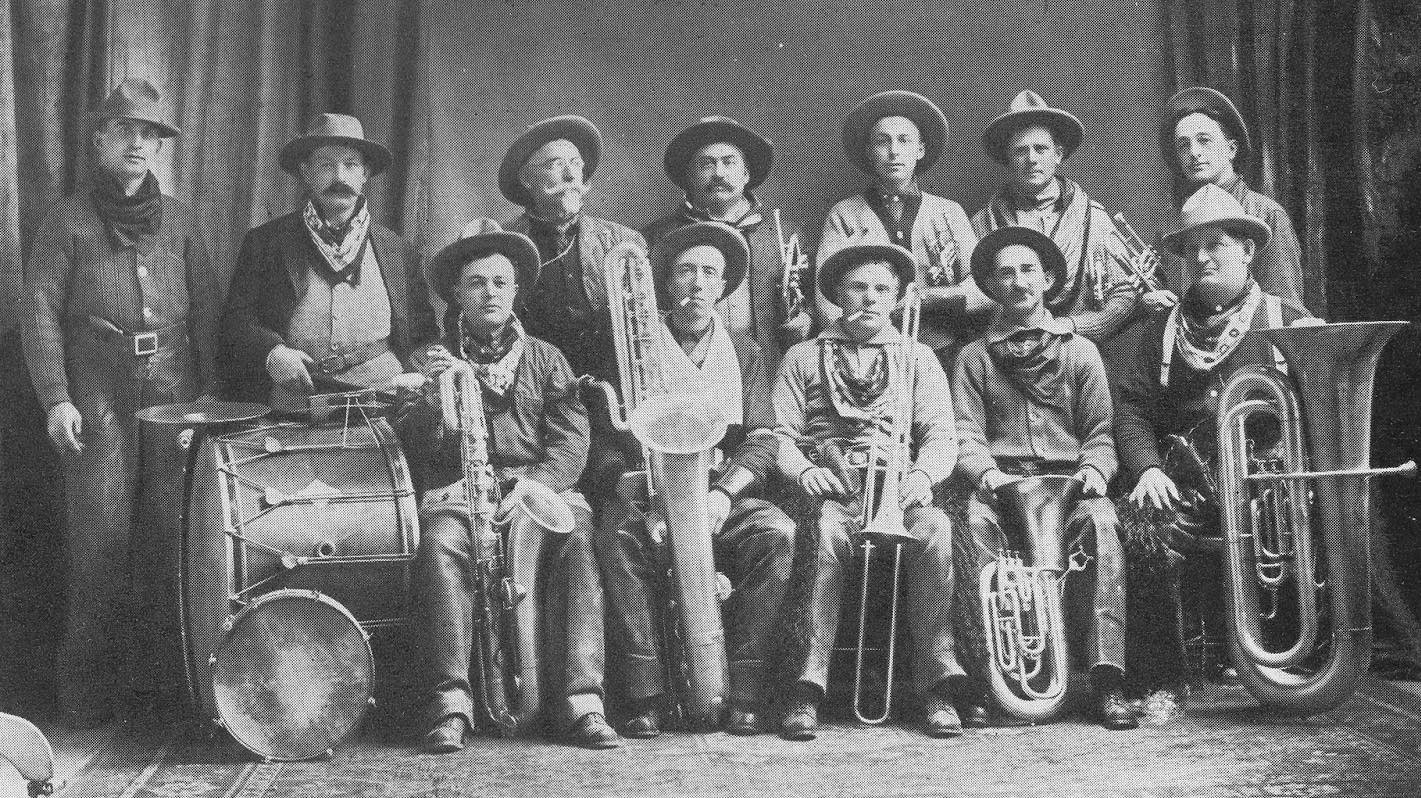 G. Oliver Riggs, second from right, back row, in the Montana Cowboy Band.