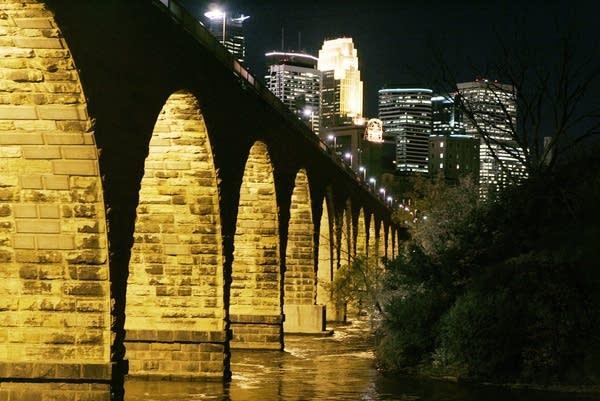 The Minneapolis skyline and Stone Arch Bridge