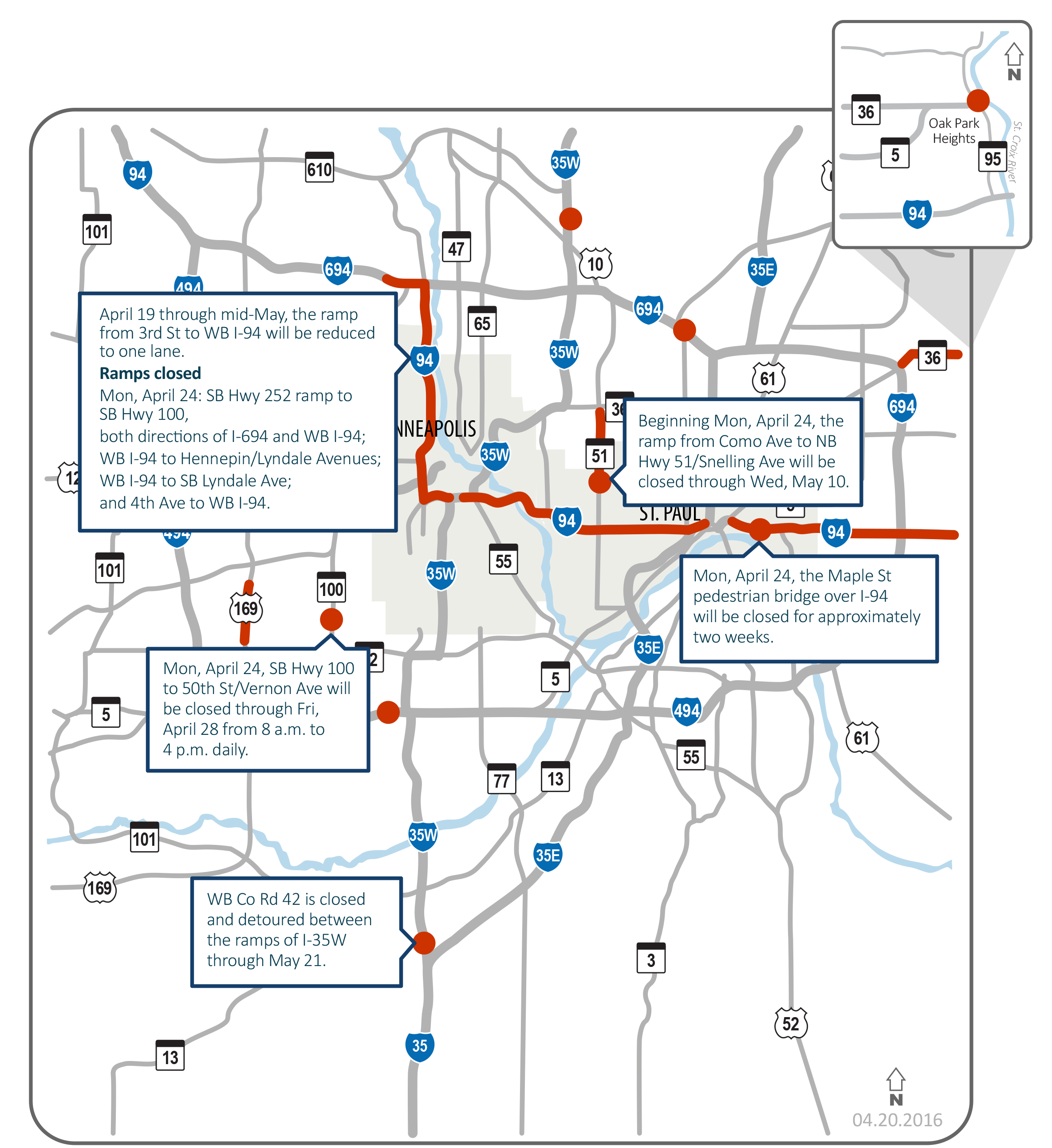Slow Ride Heres MnDOTs Newest Map Of Twin Cities Traffic Woes - Map of minnesota cities