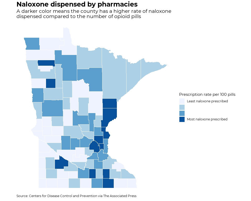 Naloxone dispensed by pharmacies in Minnesota