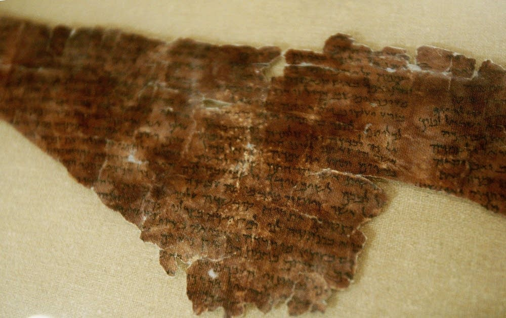 A piece of the scrolls on display in New York