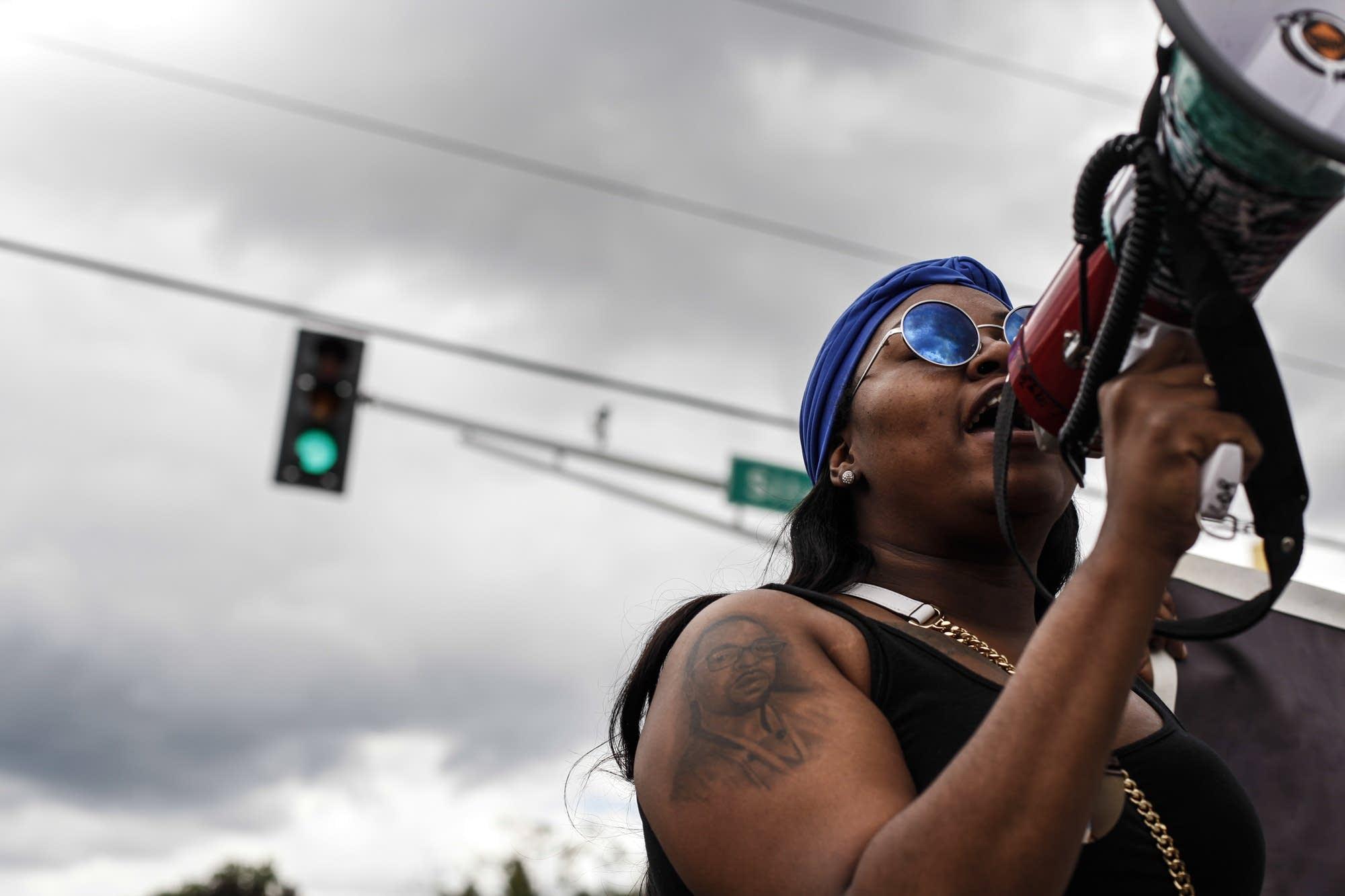 Allysza Castile, Philando Castile's sister, speaks to 250 protesters.
