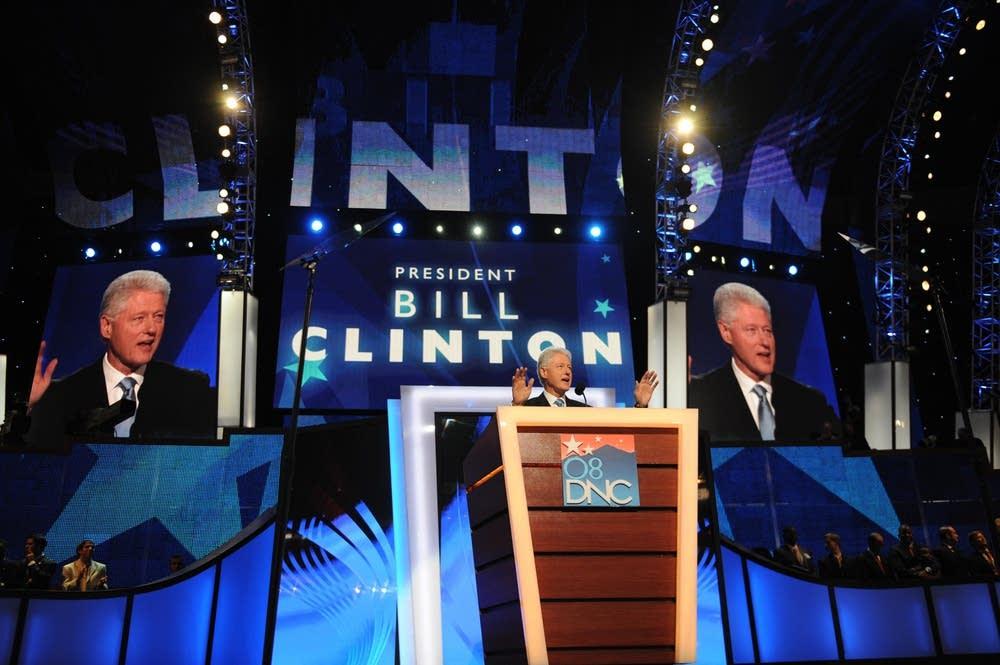 Bill Clinton addresses delegates at the DNC
