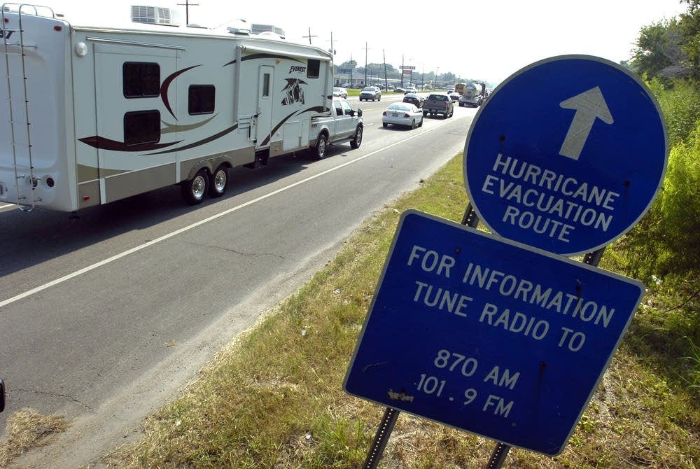 A long line of cars evacuate from Louisiana