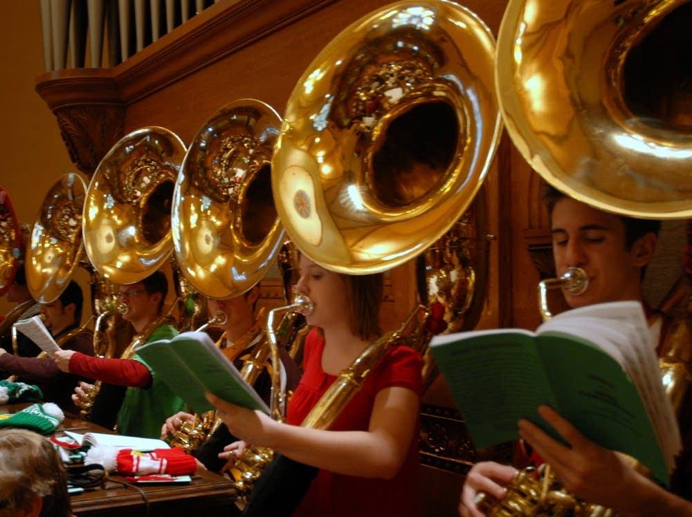 Christmas sousaphones