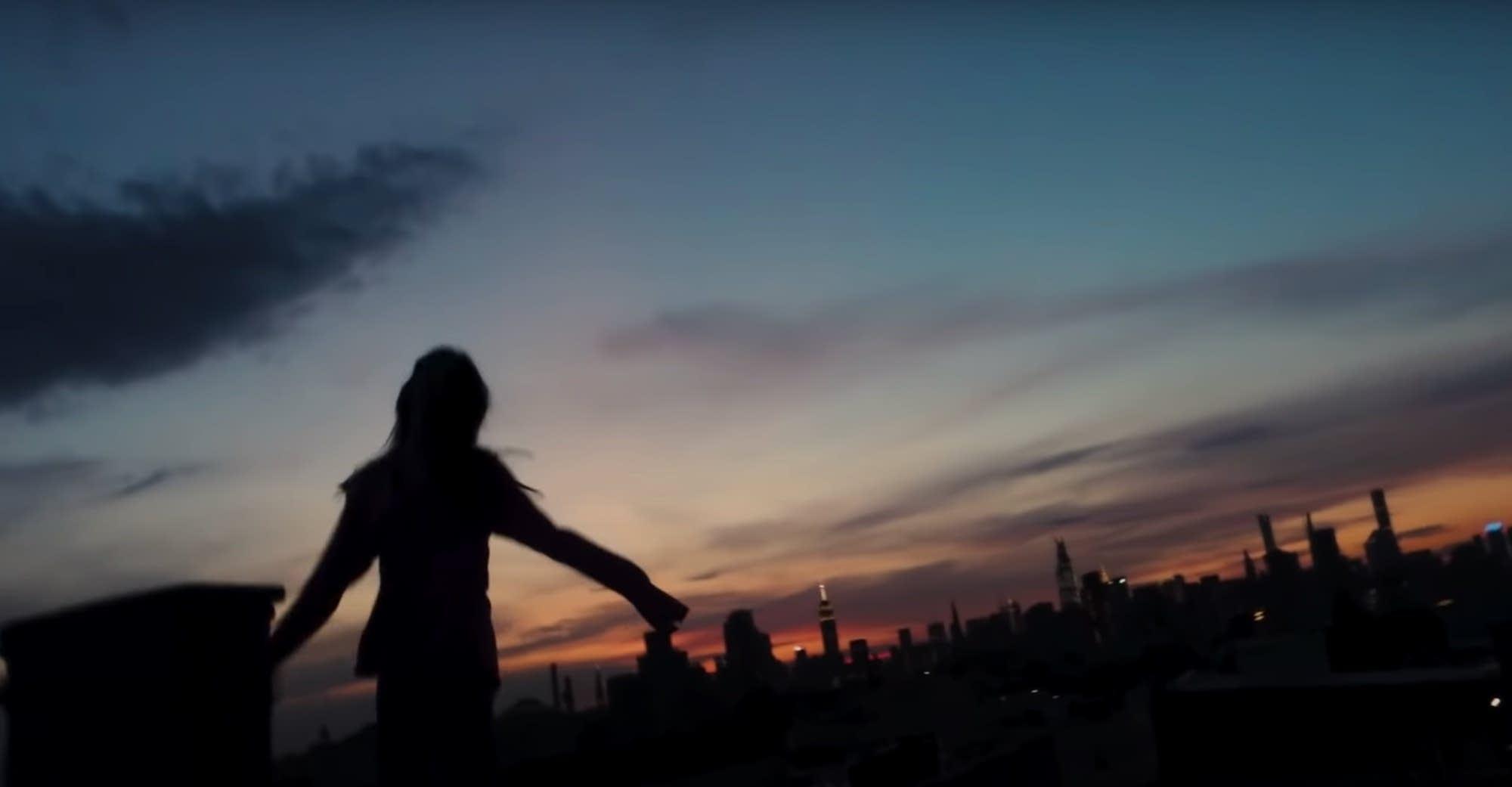 Still from Sylvan Esso's video, 'Rooftop Dancing'