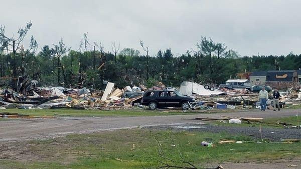 Tornado damage at Prairie Lake Estate Mobile Park