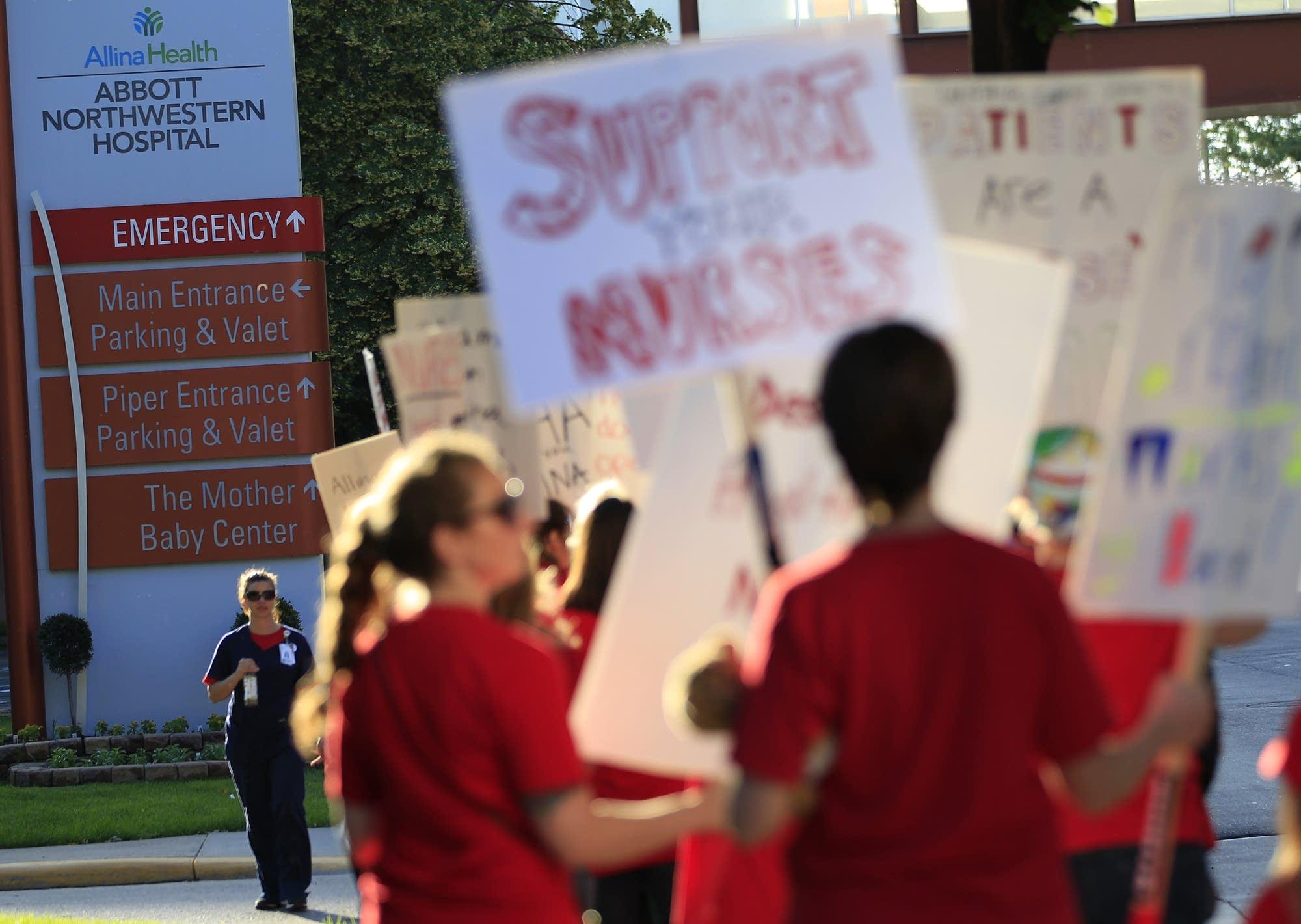 Striking nurses outside Abbott Northwestern.