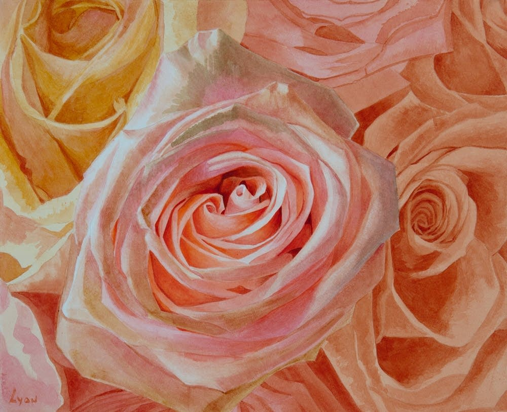 Farnesina Roses watercolor by Charles Lyon