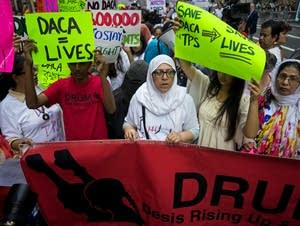 Activists supporting Deferred Action for Childhood Arrivals gather