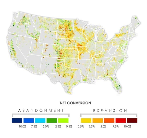 The net conversion to or from cropland