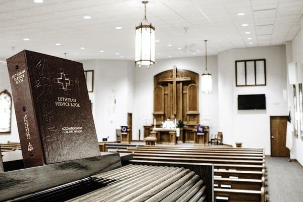 A Lutheran service book in a church.