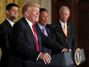 President Donald Trump speaks about  electronics giant Foxconn.