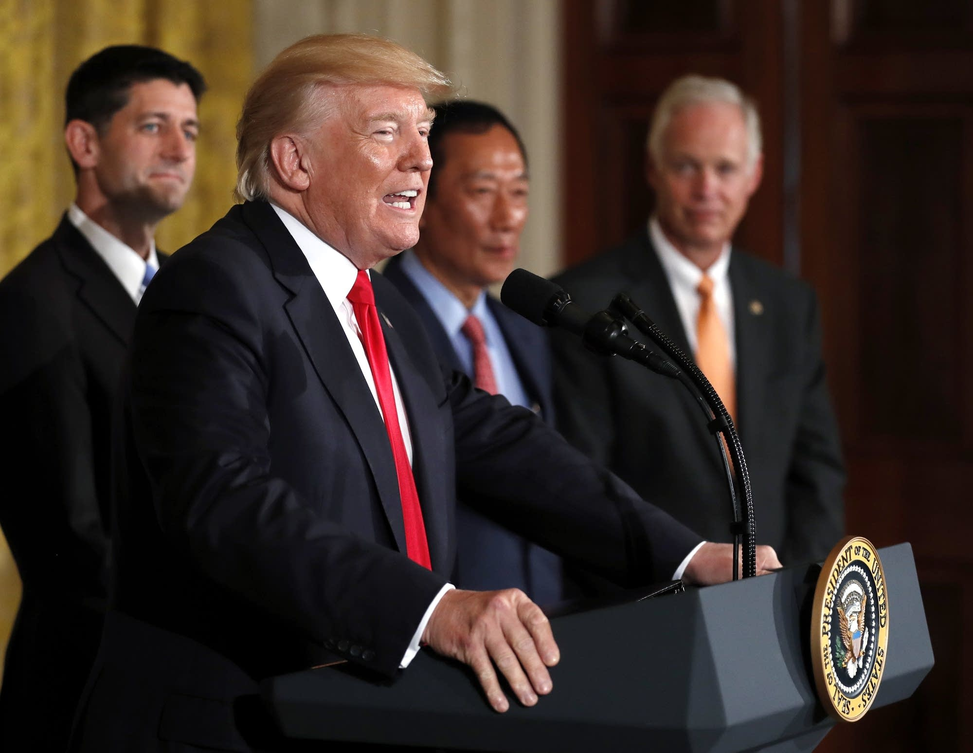 President Donald Trump speaks about  electronics giant Foxconn.