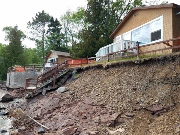 Shoreline erosion at cabins near Grand Marais in northeastern Minnesota.