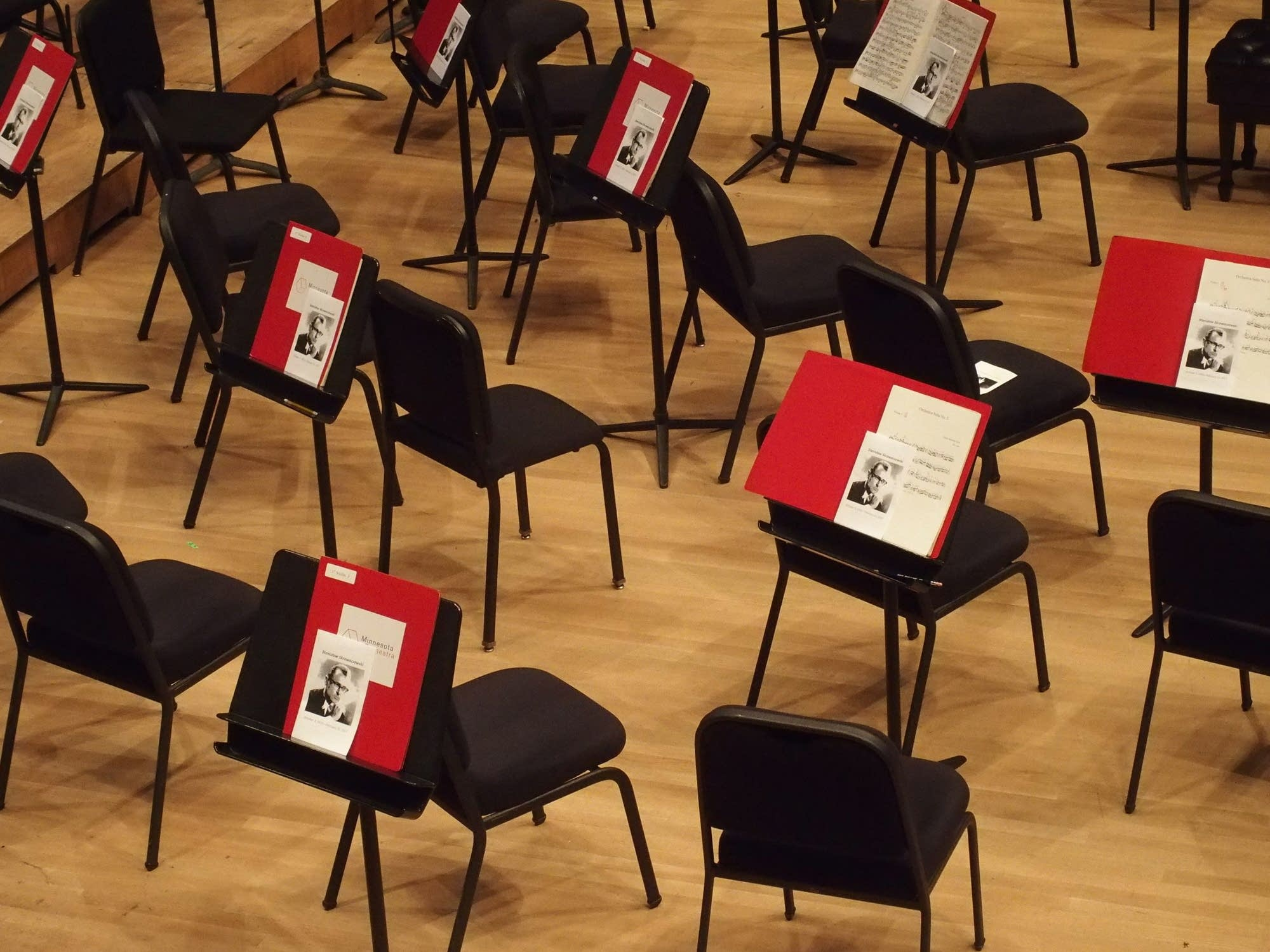 Music stands at Orchestra Hall with Skrowaczewski program