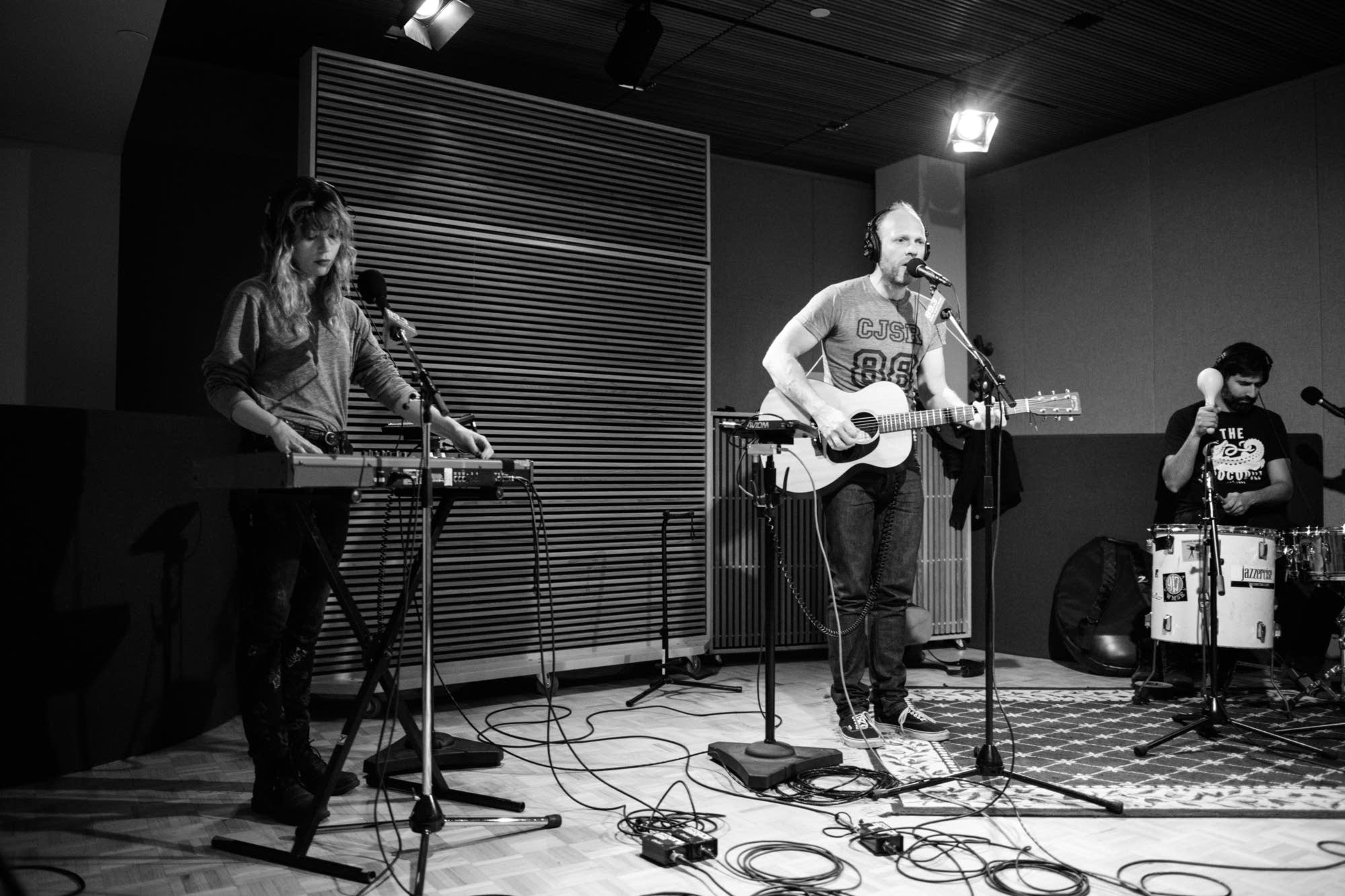 The Rural Alberta Advantage perform in The Current studio